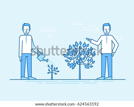 Vector illustration in flat linear style and blue colors - investing time and effort in growing business concept - man watering small plant and getting results as big tree
