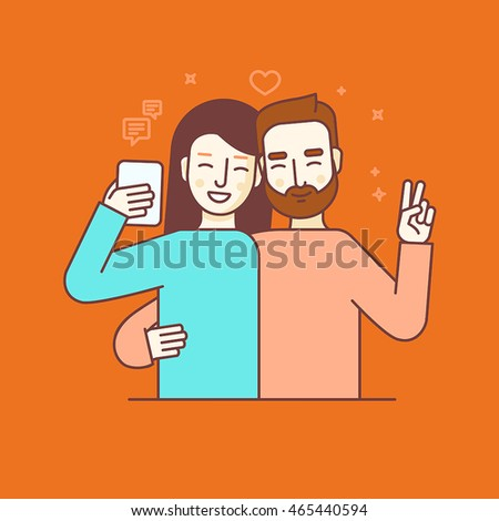 Vector illustration in flat linear style and blue colors - man and woman making selfie using mobile phone or recording video or chatting with friends online - internet or video blog concept