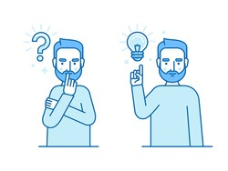 Vector illustration in flat linear style and blue colors - problem solving concept - man thinking - with question mark and light bulb icons - creative idea