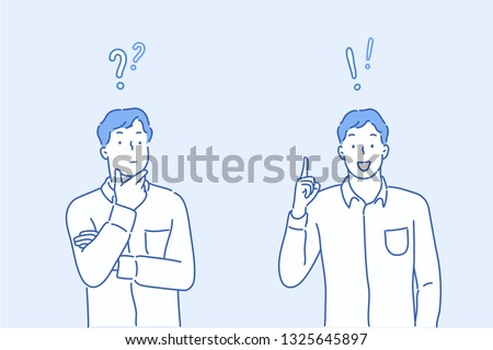 Vector illustration in flat linear style and blue colors - problem solving concept - man thinking - with question mark and light bulb icons-creative idea. Hand drawn style vector design illustrations.