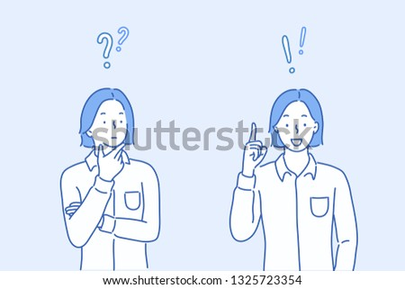 Vector illustration in flat linear style and blue colors-problem solving concept - woman thinking - with question mark and light bulb icons-creative idea. Hand drawn style vector design illustrations.
