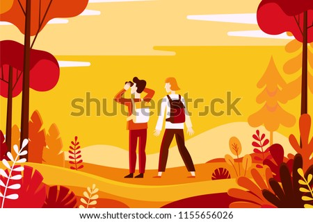 Vector illustration in flat linear style - autumn background - landscape illustration with couple exploring autumn forest - greeting card design template