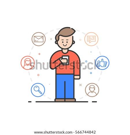 Vector illustration in flat linear style. Boy holding mobile phone with smile on his face - receiving comments, notifications and appreciations from his customers and followers - outline stock vector.