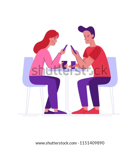 Vector illustration in flat linear style -  friends drinking coffee and chatting using mobile phones - cartoon characters  sitting at table in the cafe