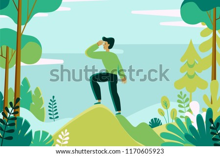 Vector illustration in flat linear style -  man exploring green forest landscape - outdoor activity concept