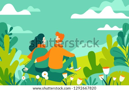 Vector illustration in flat linear style - spring illustration - landscape illustration with couple in love - exploring nature and trekking together - greeting card design template