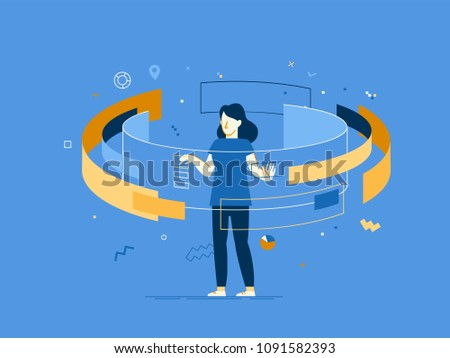 Vector illustration in flat linear style - web banner, infographics, hero image - web and app  development creative concept with female character