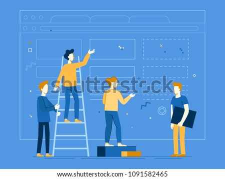 Vector illustration in flat linear style - web banner, infographics, hero image - web and app development creative concept with characters - teamwork and cooperation