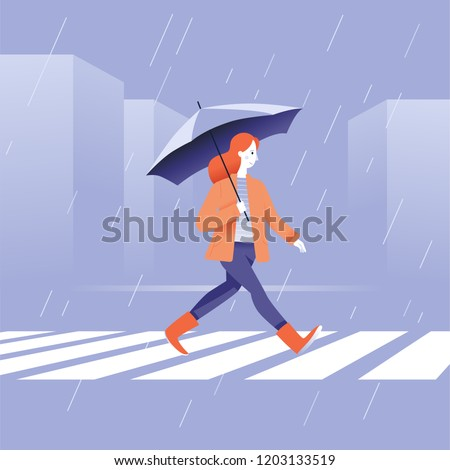Vector illustration in flat simple style -  autumn concept - girl walking in the rain in orange coat with umbrella
