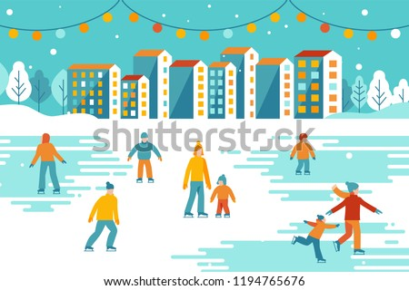 Vector illustration in flat simple style -  Christmas greeting card, banner, poster with people walking and skating outdoors in winter park - happy winter festive season - urban landscape