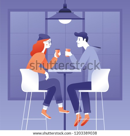 Vector illustration in flat simple style -  happy couple drinking coffee - cartoon characters in coffee house