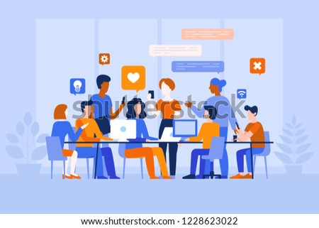 Vector illustration in flat simple style with characters - app and software development - people working together - team of computer programmers, graphic and interface designers, project managers
