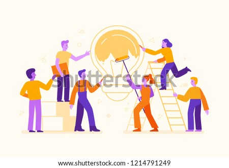 Vector illustration in flat simple style with characters - cartoon people working on creative idea - teamwork concept - painting light bulb