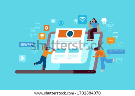 Vector illustration in flat simple style with characters - influencer marketing concept and referral loyalty program - blogger promotion services and goods for her followers online