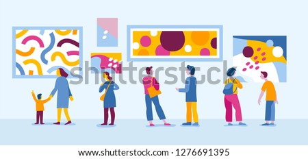 Vector illustration in flat simple style with characters - people visiting modern art gallery and viewing exhibition of abstract paintings - biennale event