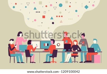 Vector illustration in flat simple style with small characters - app and software development concept - people working with data - team of computer programmers, project managers, graphic designers