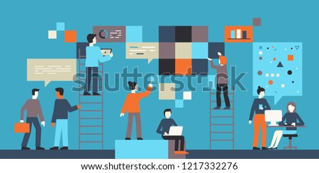 Vector illustration in flat simple style with small characters - app and software development concept - people working with data - team of computer programmers, graphic and interface designers