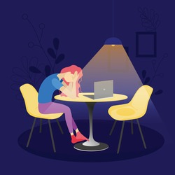 Vector illustration in flat style. A woman sits at a table opposite a laptop at night. Problems with working online. Depressed state from being at home. A lonely woman procrastinates at the computer.