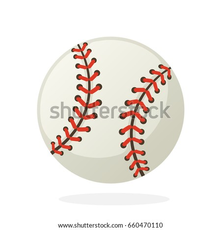 Vector illustration in flat style. Baseball ball. Sports equipment. Decoration for greeting cards, prints for clothes, posters, wallpapers