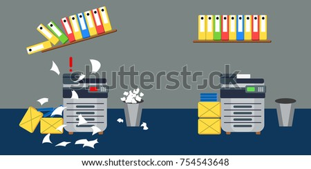 Vector illustration in flat style depicting two situations in office - order and chaos.  Broken printer with a flying sheets of paper and a warped shelf above it and a functioning printer