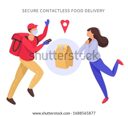 Vector illustration in flat style food delivery man in a red uniform in a dynamic pose, wearing a medical mask and gloves and a happy girl. The concept of secure contactless delivery.