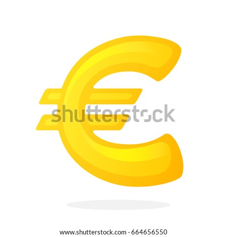 Vector Illustration In Flat Style Golden Sign Of European Euro The