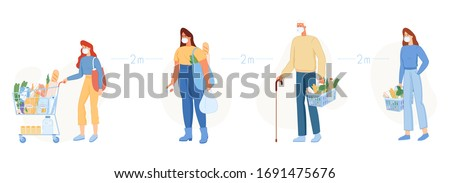 Vector illustration in flat style. Line at cash desk. Men and women in medical face mask buying groceries in shop. Keep safe distance. Distance two meter. Woman with shopping cart. Protect.