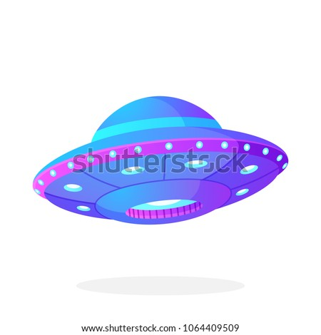 Vector illustration in flat style. Ultra violet UFO with lights. Alien space ship. Futuristic unknown flying object. Isolated on white background