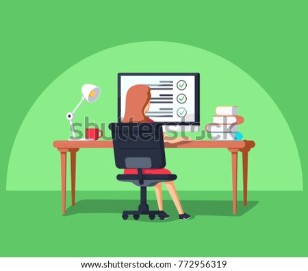 Vector illustration in flat style. Woman sitting at the computer. Outsource project manager working remotely. Business development concept