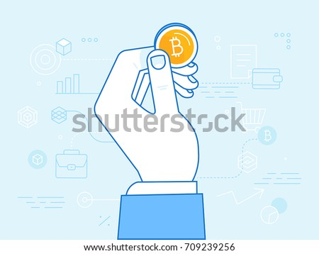 Vector illustration in line flat style and blue colors - bitcoin and crypto currency concept - hand holding golden coin -  digital payment system