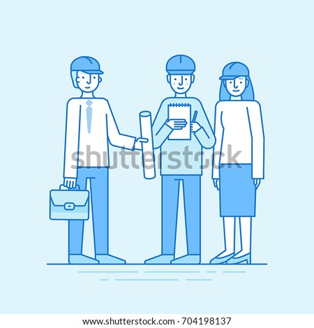 Vector illustration in line flat style and blue colors - building, construction and development business concept - people studying paper with design plan