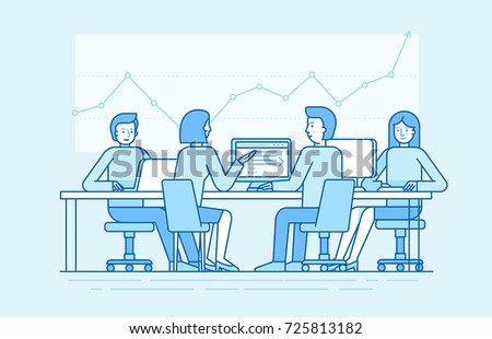 Vector illustration in line flat style and blue colors - team with four people working in the office at the computers for online internet business or start up - men and women sitting at the desktop