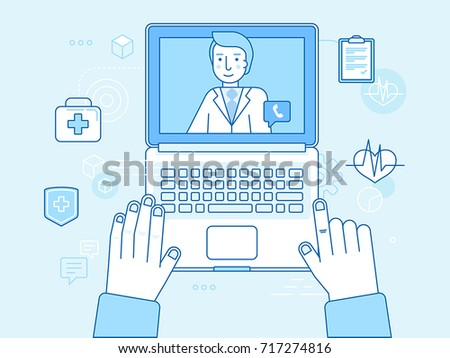 Vector illustration in linear flat style and blue colors - online and tele medicine concept - laptop with app for healthcare - online consultation with doctor