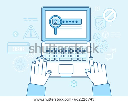 Vector illustration in modern flat linear style and blue colors - hacker stealing password data - email viruses, bank account hacking and fraud concept