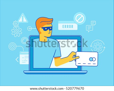Vector illustration in modern flat linear style - hacker stealing credit card data - email viruses, bank account hacking and fraud concept