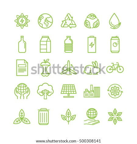 Vector illustration in modern flat linear style - recycle and ecology theme - sorting and recycling different types of garbage - organic, glass, paper, plastic, metal - infographic elements and icons