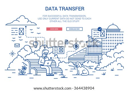 Vector illustration in modern flat style. Data transfer on distance, Internet traffic, online communication, cloud computing, wireless network.