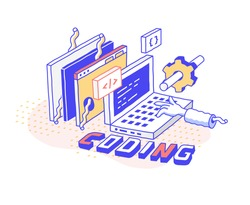 Vector  illustration in modern isometric style. Curved lines, cartoon design. Programmer's laptop, coding, website creation workflow
