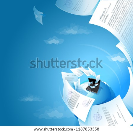 Vector illustration in realistic style with fling docs, diplomat, globe for business
