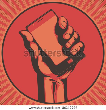Vector illustration in retro style of  a hand holding a cool modern cell phone - stock vector
