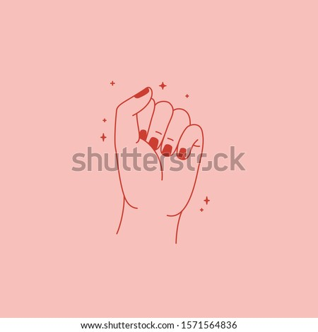 Vector illustration in simple flat linear style - girl power concept - female hand in fist gesture