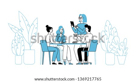 Vector illustration in simple flat linear style with smiling cartoon characters - teamwork and cooperation concept - men and women sitting at the desk with laptop - creative agency team