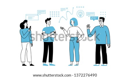 Vector illustration in simple flat linear style with smiling cartoon characters - teamwork and cooperation concept - men and women standing - business meeting and conference