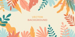 Vector illustration in simple flat style with copy space for text - background with plants and leaves - backdrop for greeting cards, posters, banners and placards