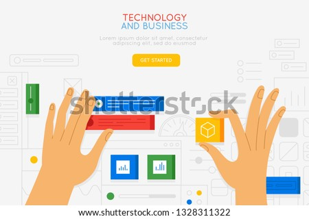 Vector illustration in simple flat style with hands and abstract user interface - teamwork and collaboration concept - tuning and developing app for business, online education platform