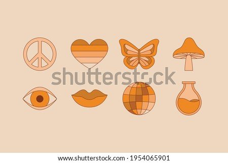 Vector illustration in simple linear style - design templates - hippie style and flower power - flowers, plants and objects Zdjęcia stock ©