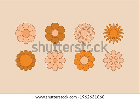 Vector illustration in simple linear style - design templates - hippie style and flower power - flowers, plants and objects