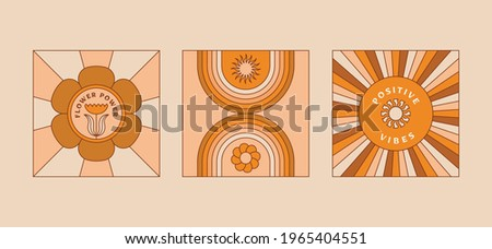 Vector illustration in simple linear style - design templates - hippie style - frames and prints with copy space for text Zdjęcia stock ©