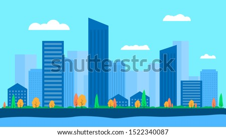 Vector illustration in simple minimal geometric flat style - city landscape with buildings