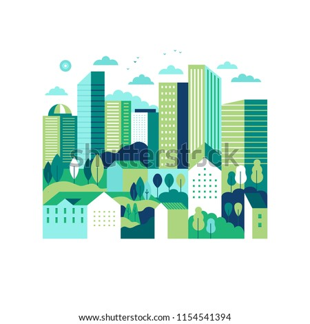 Vector illustration in simple minimal geometric flat style - city landscape with buildings and trees - abstract background for header images for websites, banners, covers
